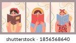 women reading books. hand drawn ... | Shutterstock .eps vector #1856568640