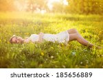 beautiful girl is relaxing... | Shutterstock . vector #185656889