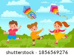 kids with kites. boy and girl... | Shutterstock .eps vector #1856569276