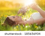 beautiful girl is relaxing... | Shutterstock . vector #185656934