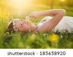 beautiful girl is relaxing... | Shutterstock . vector #185658920