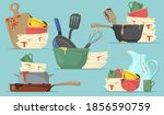 dirty plates and cups flat set... | Shutterstock .eps vector #1856590759