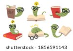 funny bookworms flat item set.... | Shutterstock .eps vector #1856591143
