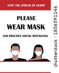 please wear mask. practice... | Shutterstock .eps vector #1856591146