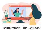 two women video chatting via... | Shutterstock .eps vector #1856591536