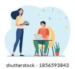 happy wife preparing food for... | Shutterstock .eps vector #1856593843