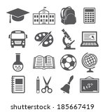 school and education icons | Shutterstock .eps vector #185667419