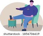fat man watching tv. he sit... | Shutterstock .eps vector #1856706619