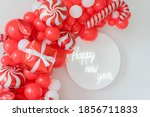 red and white christmas balloon ... | Shutterstock . vector #1856711833