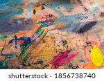 grunge wooden table with...   Shutterstock . vector #1856738740