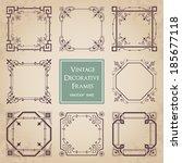 vintage decorative frames   set ... | Shutterstock .eps vector #185677118