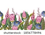 border with proteas flowers.... | Shutterstock .eps vector #1856778496