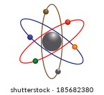 particles of an atom on a white ... | Shutterstock .eps vector #185682380