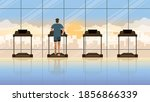 back view of alone man running... | Shutterstock .eps vector #1856866339