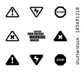 vector black danger icons set... | Shutterstock .eps vector #185691218