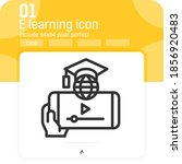 e learning on smartphone icon...