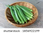Fresh Green Okra On Woven Basket