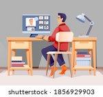 man working in modern home... | Shutterstock .eps vector #1856929903