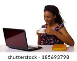 young woman drinking coffee and ... | Shutterstock . vector #185693798
