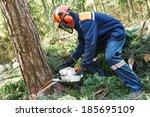 lumberjack logger worker in... | Shutterstock . vector #185695109