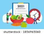 eating more healthy resolution...   Shutterstock .eps vector #1856965060