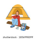 traveling alone concept. young... | Shutterstock .eps vector #1856998399