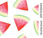 watercolor watermelon seamless... | Shutterstock . vector #1857020443