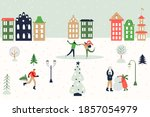 christmas greeting card  banner ... | Shutterstock .eps vector #1857054979