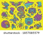 vintage tattoos set with bright ... | Shutterstock .eps vector #1857085579