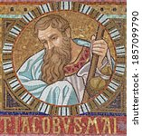 Small photo of VIENNA, AUSTIRA - OCTOBER 22, 2020: The detail of apostle St. James the Greater from mosaic of Immaculate Conception in church Pfarrkirche Kaisermuhlen.