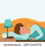 boy kid sleep in bed at night...   Shutterstock .eps vector #1857163570