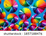 Colorful Umbrellas.  Rainbow...