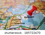 red push pin in a map of... | Shutterstock . vector #185722670