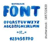 handwritten watercolor alphabet ...   Shutterstock .eps vector #185722820