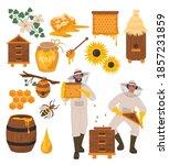 Beekeeping Set  Flat Vector...