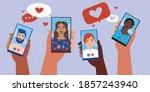 online date  smartphone...   Shutterstock .eps vector #1857243940