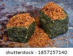Small photo of Catuaba bark on stone cubes. Natural herbal tea from Catuaba tree bark, natural aphrodisiac from Brasilia