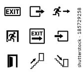 vector black exit icons set on... | Shutterstock .eps vector #185729258