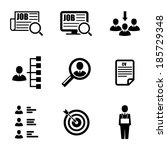 vector black job search icons... | Shutterstock .eps vector #185729348