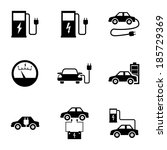 vector black electric car icons ... | Shutterstock .eps vector #185729369