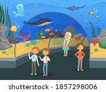 kids in aquarium. family walk... | Shutterstock . vector #1857298006