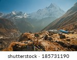 early morning in the annapurna... | Shutterstock . vector #185731190