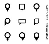vector black map pointer icons... | Shutterstock .eps vector #185733398