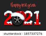 snowy new year numbers 2021 and ... | Shutterstock .eps vector #1857337276