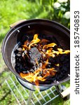 hot burning charcoal  grill on... | Shutterstock . vector #185740853