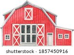 Watercolor Red Barn  Hand...