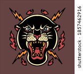 tiger and thunder tattoo vector ... | Shutterstock .eps vector #1857462916