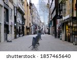 Small photo of Closed retail stores and empty streets in Brussels city center after Belgium imposed a lockdown to slow down the spread of the coronavirus disease in Brussels, Belgium on Nov. 19, 2020
