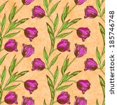 seamless pattern with pink... | Shutterstock .eps vector #185746748