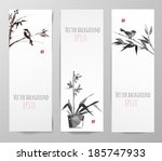 banners with bamboo  birds and... | Shutterstock .eps vector #185747933